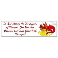 dragon, Do Not Meddle In The Affairs of Dragons... Bumper Stickers from Zazzle.com