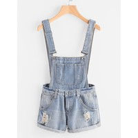 In Your Dreams Distress Cuffed Denim Dungaree Shorts - Light Blue