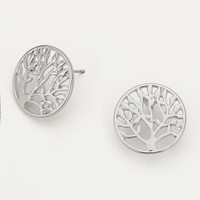Adorn by LuLu- Tree of Life Disk Earring in Silver