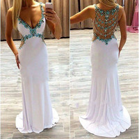 V-neck White Jersey Turquoise Beaded Sweep Train Mermaid Prom Dress Long Formal Gown APD1629