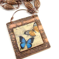 Butterfly Necklace Etched Copper Music Resin Image Collage Vintage Style Postcard Blue Orange