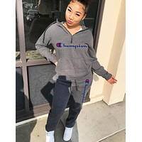 Champion New fashion letter print long sleeve top and pants two piece suit women
