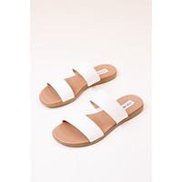 Dual Snake Two Band Slide on Sandal, White Croc | Steve Madden