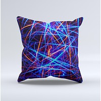 Neon Glowing Strobe Lights Ink-Fuzed Decorative Throw Pillow