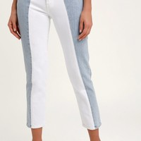 501 Taper Light Wash Color Block Cropped Jeans