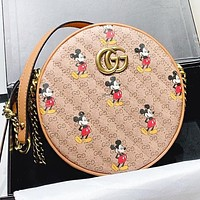GUCCI & Disney Fashion New More Letter Mouse Print Leather Round Shopping Leisure Crossbody Bag Shoulder Bag