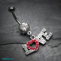 Love Sparkle Heart Belly Button Ring