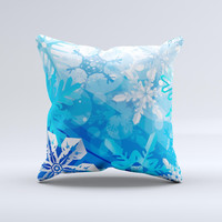 Winter Abstract Blue Ink-Fuzed Decorative Throw Pillow