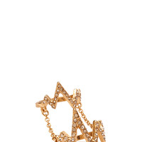 FOREVER 21 Rhinestone Zigzag Knuckle Ring Gold/Clear