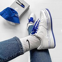 Hipgirls Nike Air Force 1 new men's and women's blue and white stitching wild casual shoes