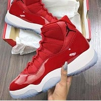 Nike Air Jordan 11 Fashionable Men Women Sport Running Basketball Shoes Sneakers Red(Black Logo)