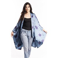 Origami Tie Dyed Silky Haori-Inspired Jacket