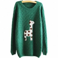 Partiss Women Giraffe Sweater, Small, Green
