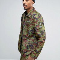 Dxpe Chef Coach Jacket In Camo With Military Patches at asos.com