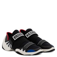 Giuseppe Zanotti Gz Jump R18 Black And Blue Fabric Sneaker With Elastic Bands