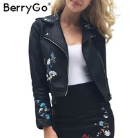 BerryGo Embroidery faux leather coat PU motorcycle leather jacket women coat 2017 Autumn outwear fashion ladies' leather jackets