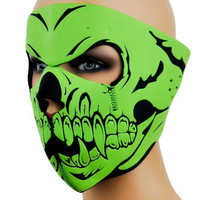 Green Skeleton Motorcycle Full Face Mask Biker Neoprene Cover