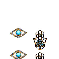 Aria Hamsa Hand And Eye Earring Set