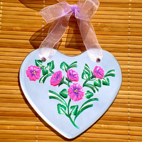 Hand Painted Heart Shaped Mirror Wall Hanging With Flowers