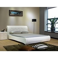 Luxury Black And White Leather Platform Bed