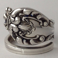 Size 10 Vintage Crown Sterling Silver Spoon Ring