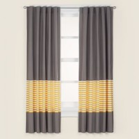 Kids' Curtains: Kids Grey & Yellow Curtain Panels