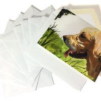 """Pack of 10 Watercolor Golden Retriever Stationery, Painted Dog Themed Cards With Envelopes, Ten Pack Beautiful Dog Painting Note Cards 4x6"""""""