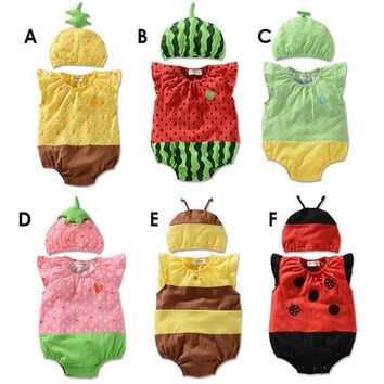 Baby Insect or Fruit Themed Onesuit Romper Set