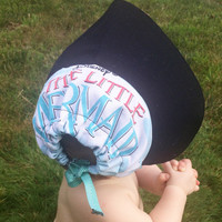 Little Mermaid baby bonnet baby sun hat upcycled from vintage little mermaid sheet