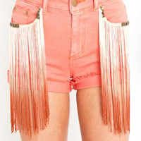 Charley 5.0 Coral Denim Shorts with Ombre Fringes