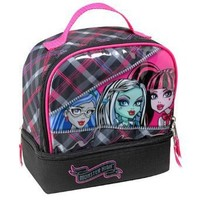"Monster High ""Ghoulia Yelps, Frankie Stein & Draculaura"" Dual Compartment Children's School Lunchbox"