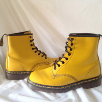 vintage 90s UK The Original Dr Martens 1460 Air Cushion Sole Air Wair Yellow Boots made in England - never worn  Ladies size 9 - Doc Martens