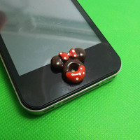 Chocolate Red Bowknot Minnie Mickey Home Button Sticker for iPhone 3,4,4s,5,ipad 2,3,4,iPod Touch 2,3,4,5