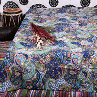Multicolor Paisley Print Queen Size Kantha Quilt , Kantha Blanket, Bed Cover, Queen Kantha bedspread, Bohemian Bedding, Paisley Kantha Quilt