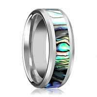 Beveled Tungsten Couple Matching Ring with Mother of Pearl Inlay - 4MM to 10MM