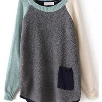 Sheinside Contrast Long Sleeve Pocket Loose Sweater