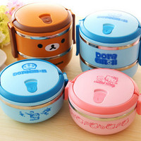 Lunch Box Rilakkuma one/Two Layers Thermal Bento Thermos For Food Stainless Steel Insulation Storage  Container Dinnerware sets