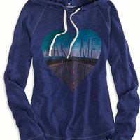 AEO Women's Live Your Life Hoodie T-shirt (Evening Blue)