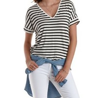Oversized Striped Dolman Tee by Charlotte Russe