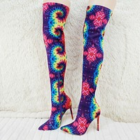 Mark Tie Dye Stretch Pointy Toe Stocking High Heel Thigh High Boots 7-11