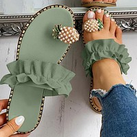Women Slipper Pineapple Pearl Flat Toe Casual Fruit Beach Sandals Ladies Shoes Platform Sandalias