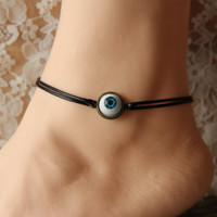 evil eye anklet, blue eye charm anklet, wax cord,summer trending,lucky jewelry,personalized gift