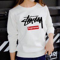 Supreme x Stussy co-branded tide brand women's loose round neck sweater White