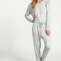 Grey Drawstring Jersey Knit Jumpsuit - LoveCulture