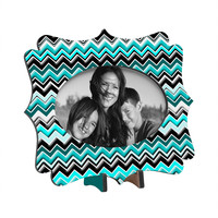 Madart Inc. Turquoise Black White Chevron Tabletop Frame