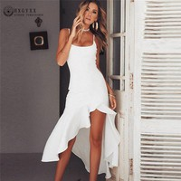 Summer New ruffled sling backless Dress Women Fashion simple Solid color Sexy Slim Temperament Female Dresses C016