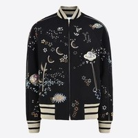 Valentino Varsity Jacket In Embroidered Felt, Jackets for Women - Valentino Online Boutique