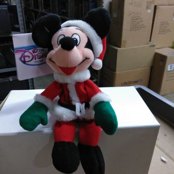 Mickey Mouse  Santa Mickey Stuffed Doll Beanie Baby