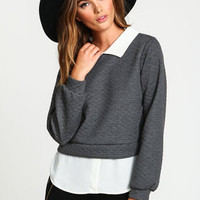 Collar Quilted Blouse Sweater - LoveCulture