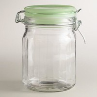 Small Glass Clamp Jars with Jadeite Lids, Set of 6